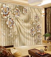 Home Goods Curtains Jewelry flowers Curtains For Living Room Bedroom Curtains Kitchen Door Curtains