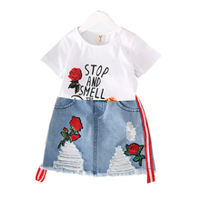 Girls Clothing Sets Summer 2018 Fashion Children Cotton Embroidery Rose Flower T-shirt And Denim Skirts Suit Kids Clothes Set цена