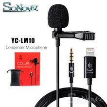 Microfone de áudio e gravação de vídeo para celular, condensador, lavalier, para iphone 8, 7, 6, 5, YC LM10, 4, ipad, huawei, samsung, htc, 4S como BY LM10,