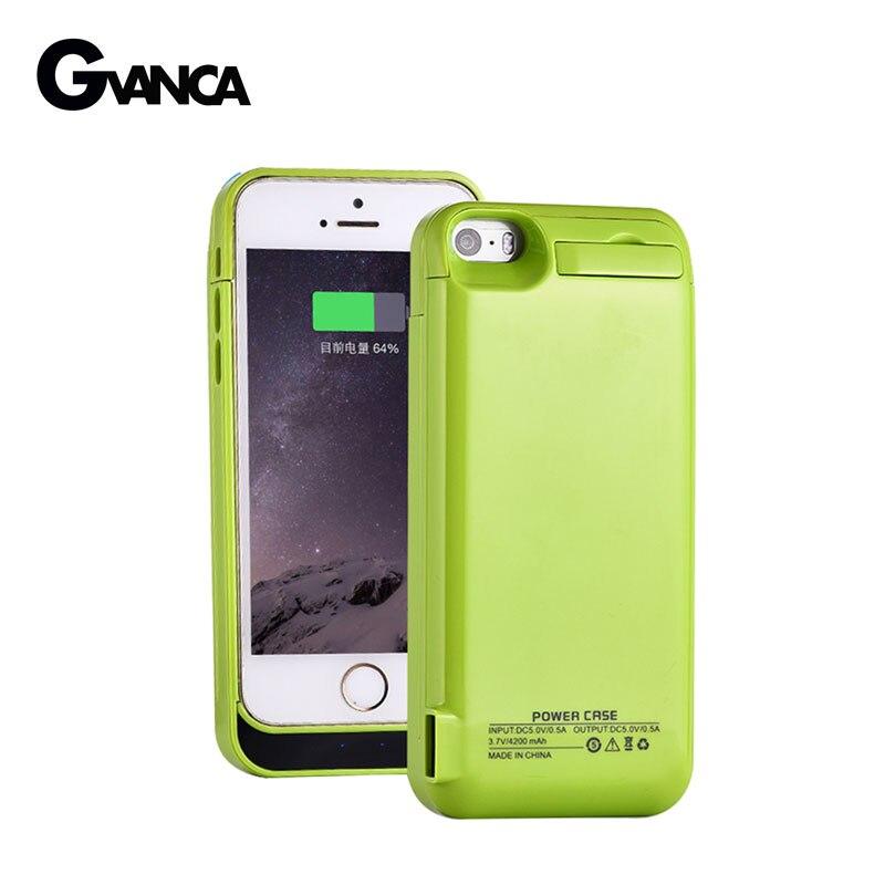 bilder für Für iphone 5 5 s 5c se ladegerät-fall fall externe akku power fall powerbanks 4200 mah 0.5a ausgang