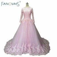 Luz de Color Rosa Vestido de Novia de Encaje Con Mangas Largas del vestido de Bola granos de La Vendimia Vestidos de Novia Musulmana Vestido de Novia de Lujo de la boda vestido