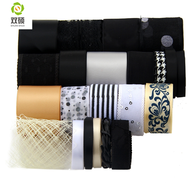 Black Series Ribbon For Diy Handmade Gift Craft Packing Hair Accessories Wedding Materials Package Mix Color 22pcs High quality