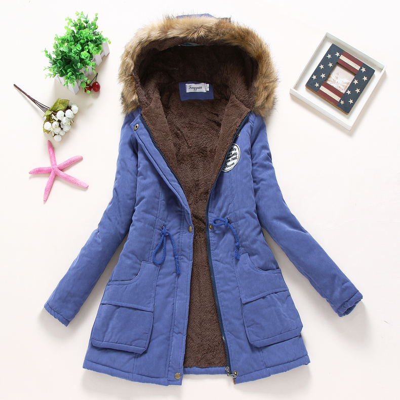 new winter women jacket medium-long thicken plus size 4XL outwear hooded wadded coat slim parka cotton-padded jacket overcoat 4