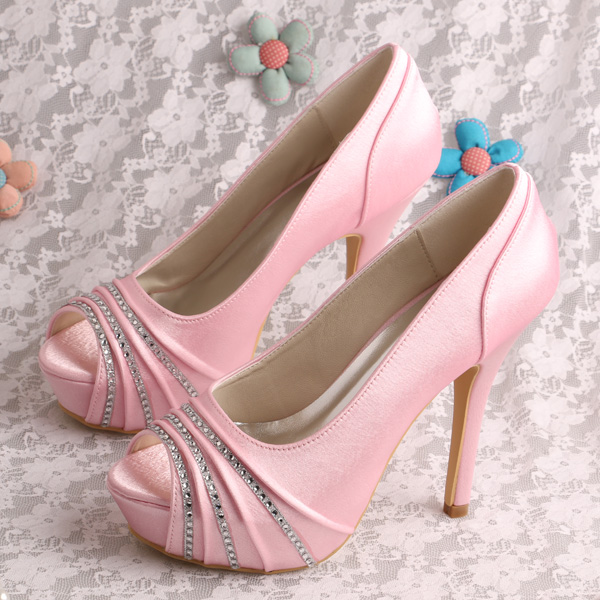 Wedopus Luxury Crystal Platform Wedding Shoes Peep Toe High Heel Pump Shoes Pink Satin Dropship