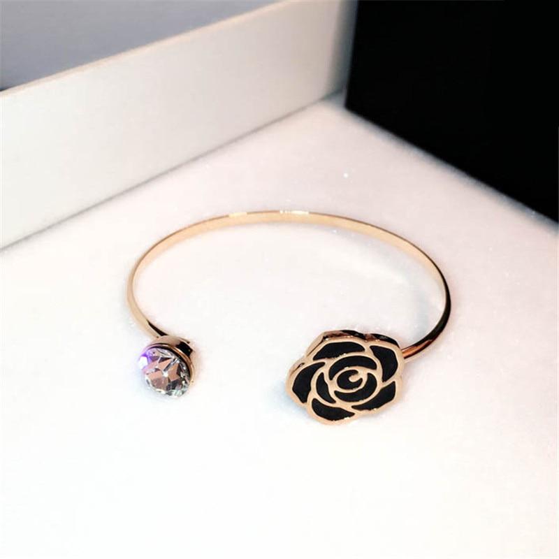 CX Shirling Rhinestone Crystal Bangle Bracelet Women Tin Alloy Gold Color Luxurious Camellia Bangle Bracelet Jewelry