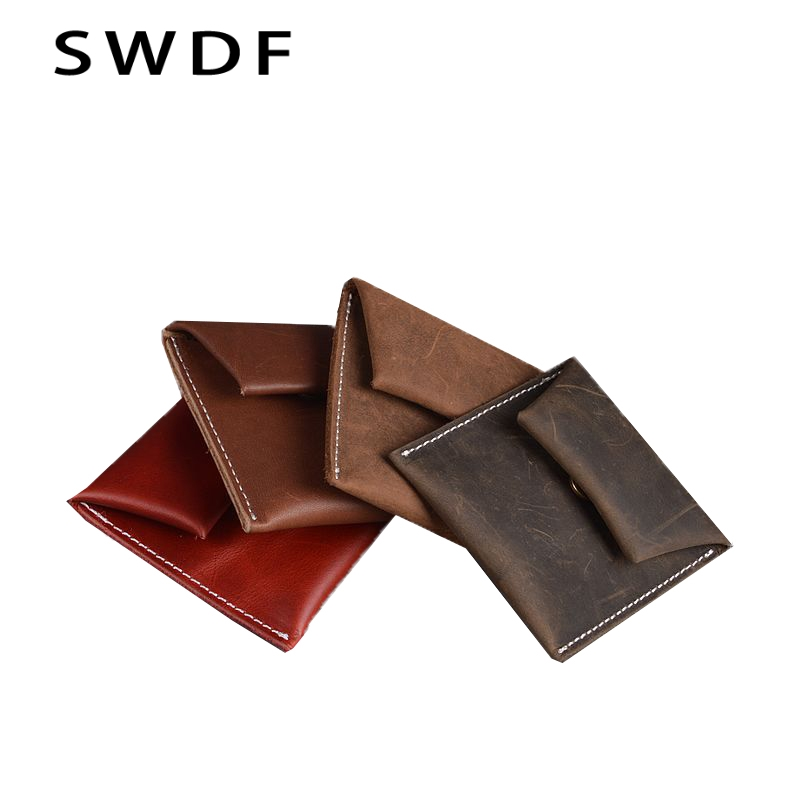 Genuine Leather Coin Purse Leather Zipper Coin Pouch Men Women Coin Wallet Coffee Cowhide Small Change Pocket bolsa feminina