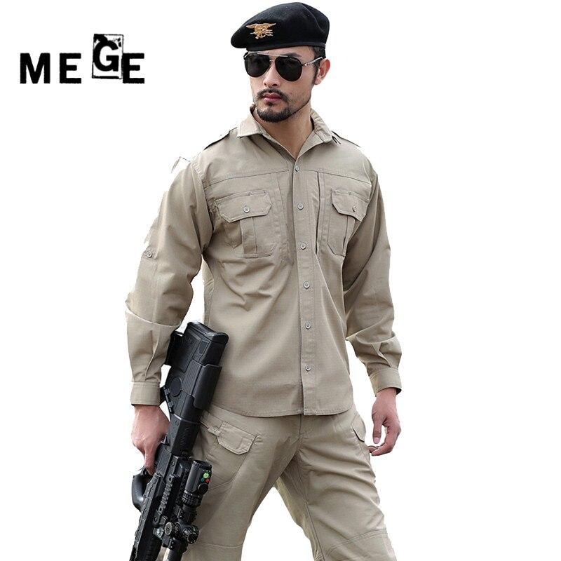 MEGE tactique hommes printemps été chemise longue Seeve, armée Airsoft Ripstop Camisa Masculina, chasse randonnée vêtements d'extérieur chemise