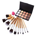 2016 New 1 Set 15 Colors Face Concealer Camouflage Cream + 11 Pcs Bamboo Brush Sponge Puff #BSEL
