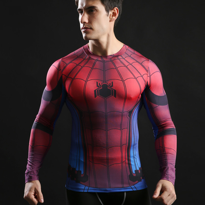 Slim Long Sleeve T-shirt Quick Dry Gym Clothing 2019 Popular Spider Man 3D Printed Men'S T Shirt For Sporting Fitness 3D Shirt