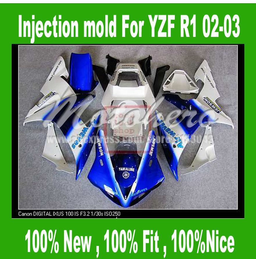 100%Fit Injection <font><b>fairings</b></font> for <font><b>Yamaha</b></font> YZF <font><b>R1</b></font> 2002 <font><b>2003</b></font> YZF <font><b>R1</b></font> 02 03 YZF1000 <font><b>R1</b></font> YZF-<font><b>R1</b></font> 02-03 <font><b>fairing</b></font> kits Blue <font><b>white</b></font> #22w31a image