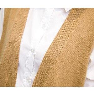 Image 5 - Camisola longa colete feminino tricô cardigan colete senhora 2019 novo outono inverno coreano solto gilet sólido sem mangas jaqueta