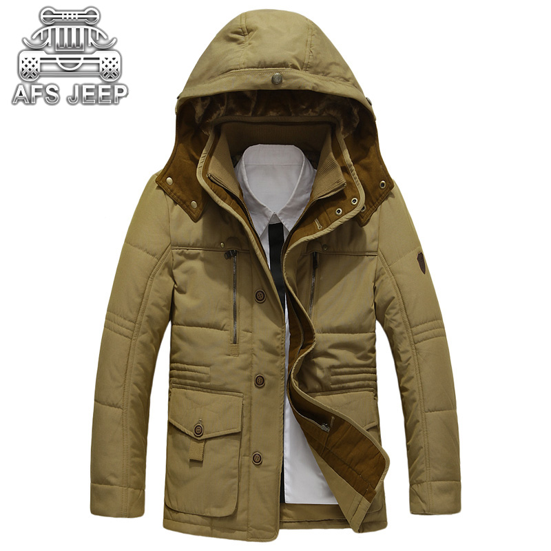 Winter Hooded Men Jackets Down Parka Snow Coats Original Brand AFS JEEP Warm Thick Clothing Business Casual Loose Outwears цены онлайн