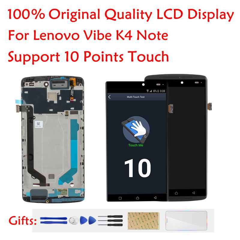 100% Original For Lenovo Vibe K4 Note LCD Display + Frame For Lenovo A7010a48 A7010 X3 Lite LCD Screen Touch Screen Repair Parts
