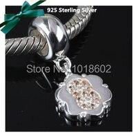 100% 925 número árabe 8 With Crystal piedra cuelga los encantos accesorios por Finding pulsera collar VK0678