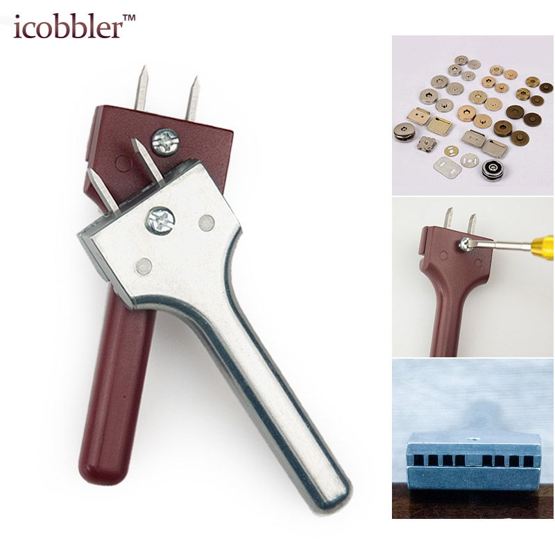 Leather Craft Tools Adjustable Buckle Installation Tool Fork Punch Magnetic Button 4-25mm Hole Spacing Manual DIY Punch