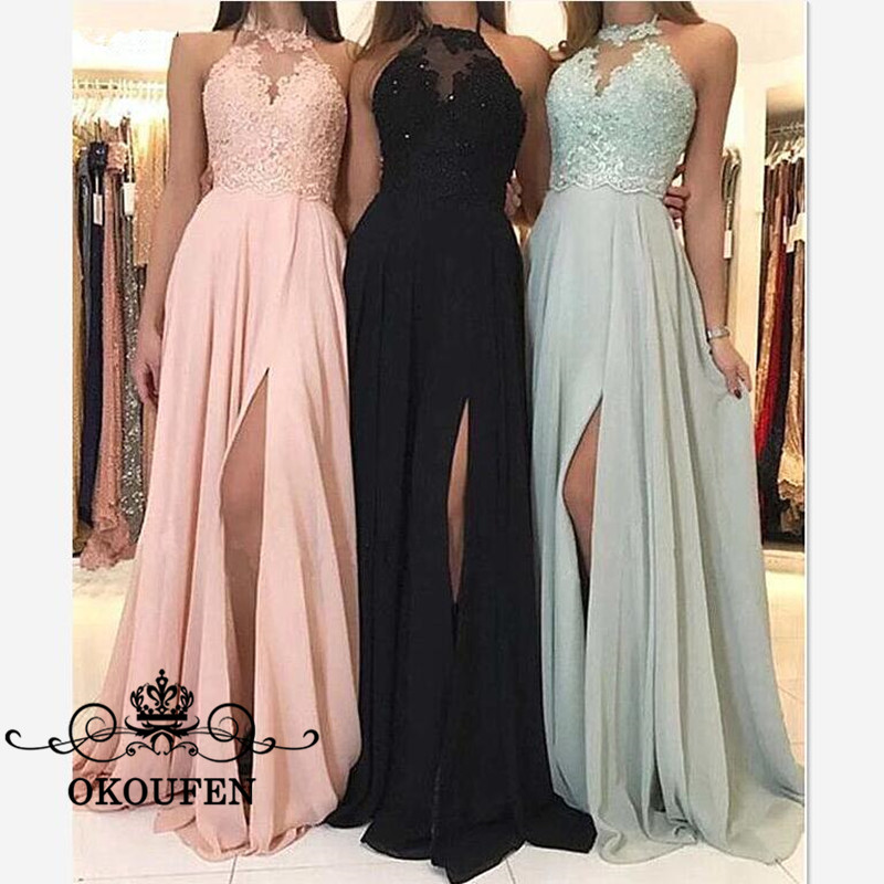 Side Split   Bridesmaid     Dresses   With Lace Top and Chiffon Skirt Appliques Beads Long A Line Halter Maid Of Honor   Dress   Party Gown