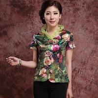 Hot Sale Green Fashion Summer Women's Elegant Blouse Chinese Style Shirt Coil Button Tops M L XL XXL 3XL 080904