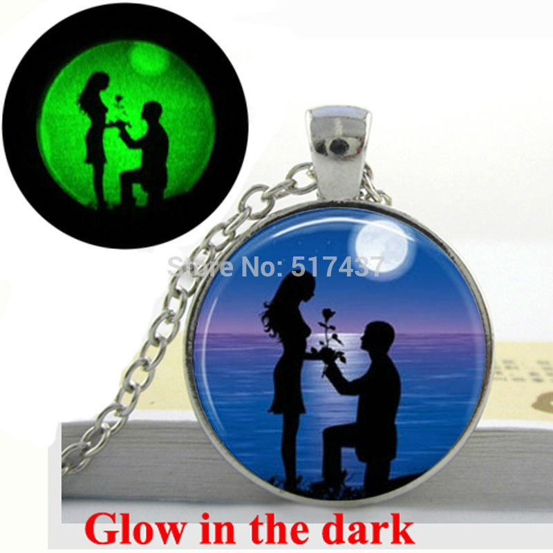 Glow in the dark Necklace Silhouette Couple on Beach Necklace Moon-Beach-Engagement Art photo glowing jewelry Gifts for Lovers