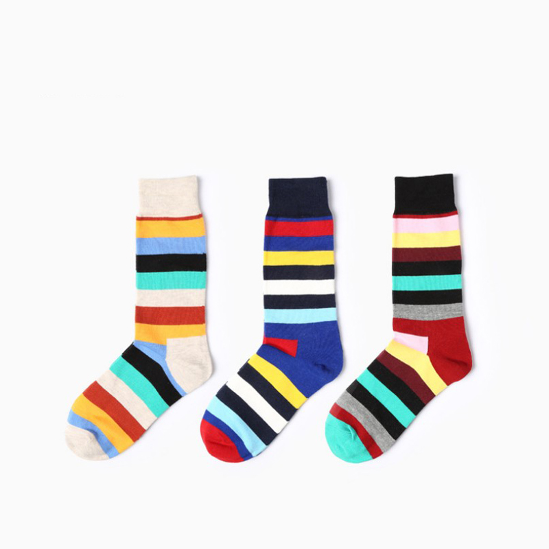 colourful cotton stripe patter men happy socks crew 5 colors to choose funny fashion new design women spring atumn winter socks