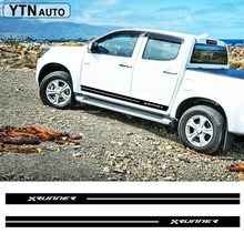 free shipping 2PC racing XRUNNER styling Gradient side door stripe graphic Vinyl car stickers for dmax beast pickup decals
