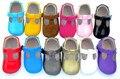 Comercio al por mayor 100 par/lote Nueva Moda Geométrica Bebé Mocasines de Cuero de Vaca Zapatos de Suela Suave para Bebés Niño Niña Niño Recién Nacido Bebé