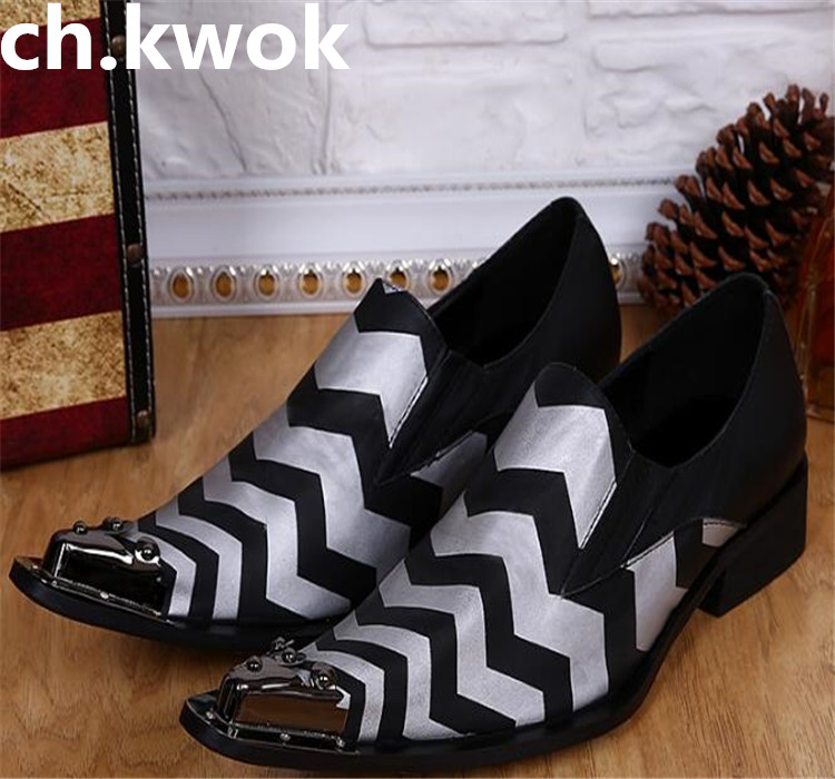 New zebra print leather iron head men pointed toe bar fashion hair stylist leather shoesNew zebra print leather iron head men pointed toe bar fashion hair stylist leather shoes