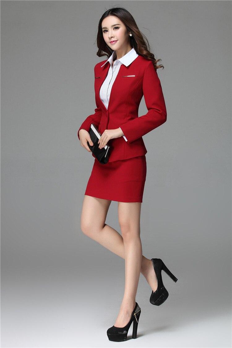 6ee38e49783b Abiti E Blazer 2015 Nuovo Ufficio Signore Professional Del Le Inverno Plus  red Per Rosso Autunno Black Size ...