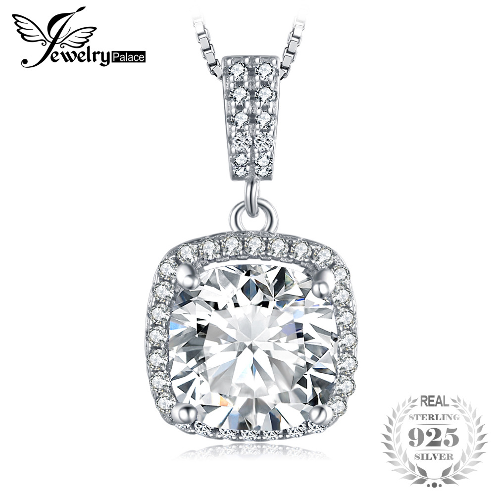 Cushion 3ct Halo Solitaire Pendant 925 Sterling Silver Not Include a Chain Fine Jewelry For Women