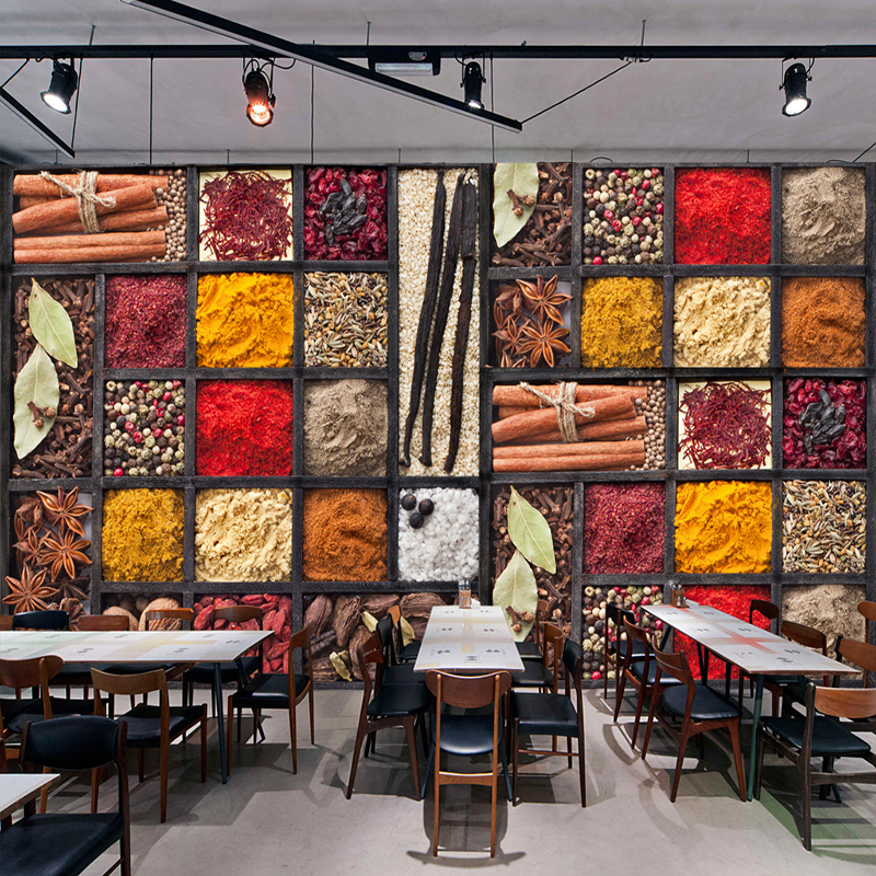 Kitchen Decoration With Waste Material: Custom 3D Photo Wallpaper Spices Seasoning Ingredients Raw