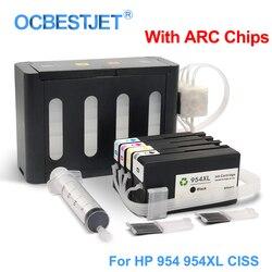 Dla HP 954XL 954 XL CISS system stałego zasilania atramentem dla HP Officejet Pro 7740 8210 8710 8715 8720 8725 8730 8740 z ARC chipie w System stałego zasilania atramentem od Komputer i biuro na