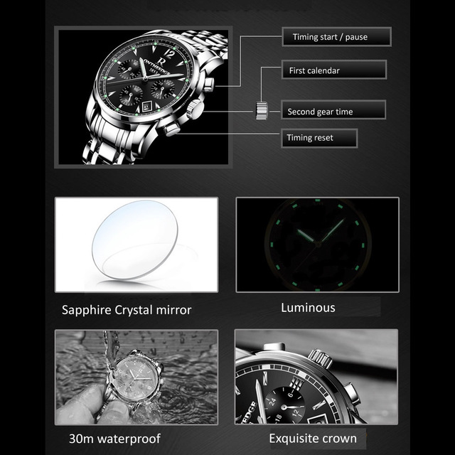 Mens luxury gold wristwatches male brand watches quartz man clocks waterproof stainless steel fashion Business luminous calendar