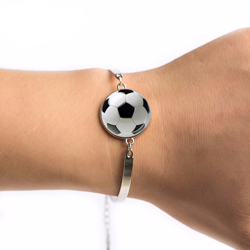 2018 Football bracelet Jewelry Football silver bracelet Gift for Soccer Player gift image