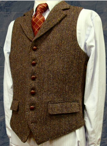 68a12446dabbc İngiliz Tarzı Klasik Kahverengi Yün Balıksırtı Damat Yelekler Resmi Damat  giyim Takım Elbise Yelek erkek Düğün