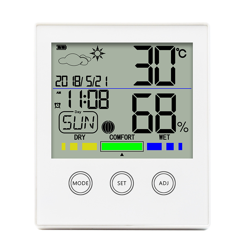 New electronic touch-screen digital display hygrometer, home office, weather time alarm clock.