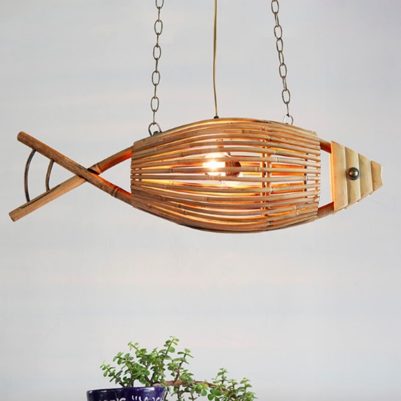 Creative Southeast Asia Hand Crafted Bamboo Fish Led E27 Pendant Lamp for Living Room Bar Dining Room Shop L 76cm 1794