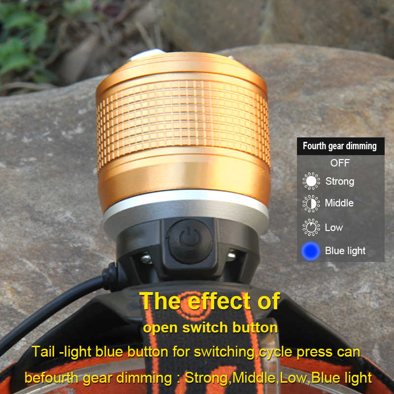 Blu-ray oder weiß licht 2 x cree led scheinwerfer wiederaufladbare scheinwerfer angeln lampe kopf taschenlampe stirn 18650 batterie