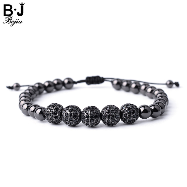 Bojiu Zircon Bracelet Men Jewelry Fashion Gold Color Pave Bead High Quality Gifts Rope Braided