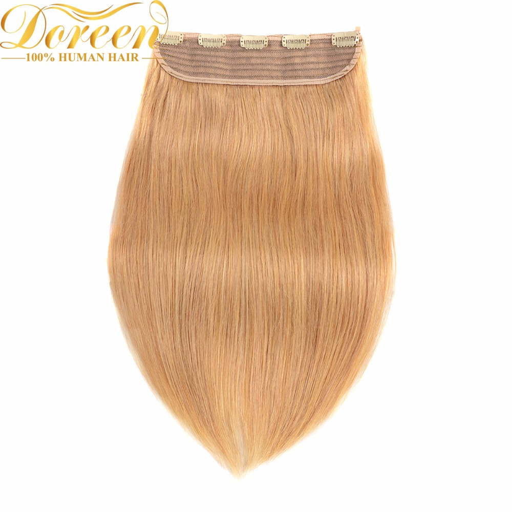 Doreen 16 To 22inch Brazilian Machine Made Remy Clip In One Piece Hair Extensions 8Colors 120G Set Natural Human Hair