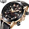 2018 جديد LIGE تصميم موضة العلامة التجارية الساعات الرجال الجلود الرياضة تاريخ ساعة كوارتز بكرونوجراف الذكور الهدايا ساعة Relogio Masculino