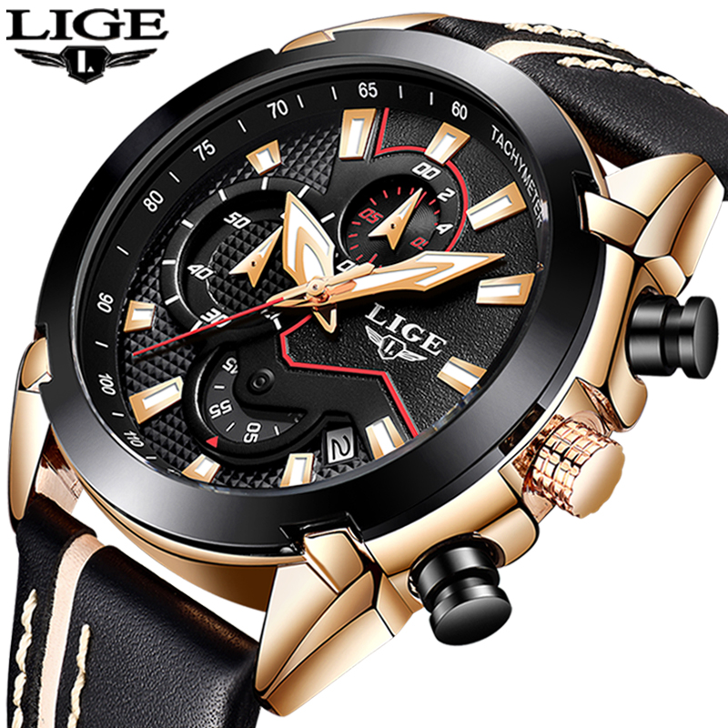 2018 New LIGE Design Fashion Brand Watches Mens Leather font b Sport b font Date Chronograph