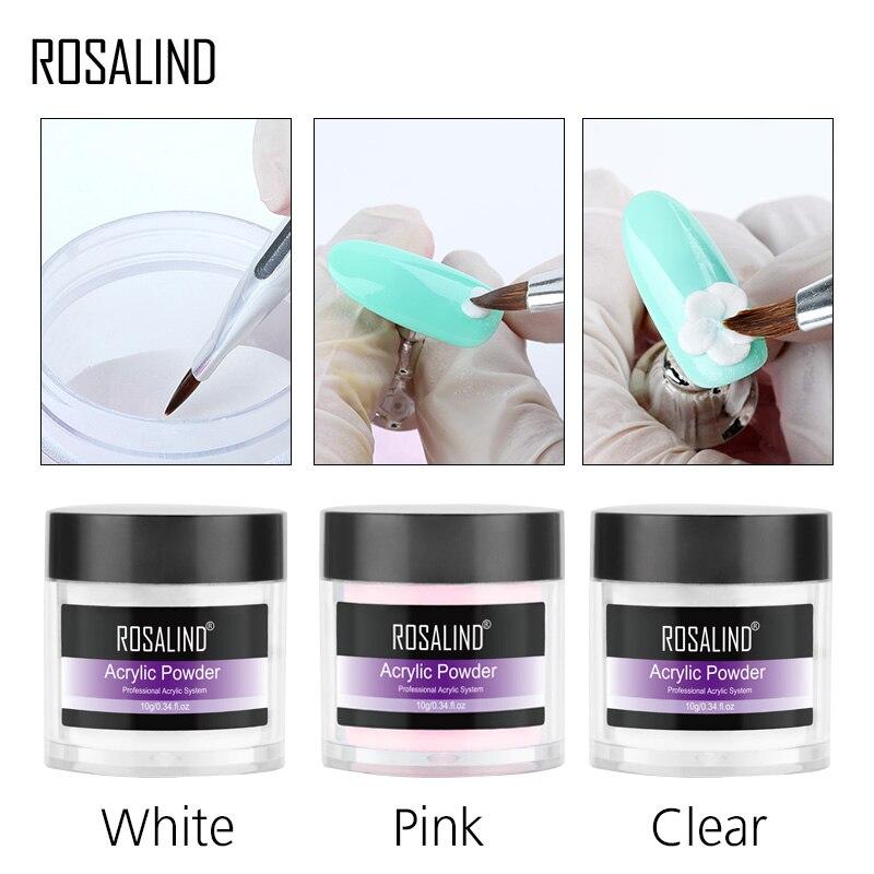 Акриловая пудра ROSALIND для наращивания ногтей, 10 г, розовая, белая, прозрачная акриловая пудра для маникюра