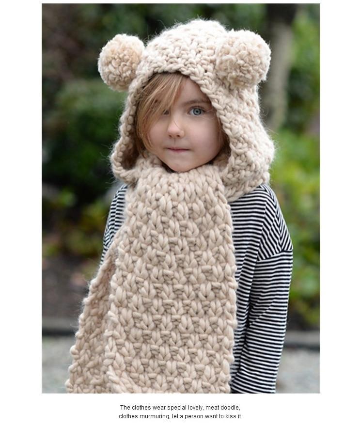 1pcs Hat set for winter soft hat scarf material for stockinette for kids coat