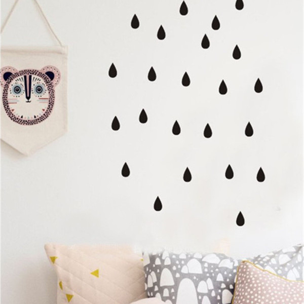 80pcs rain dots pattern cute Wall Sticker Easily Removable & Waterproof  PVC  No Pollution material for kids room decoration