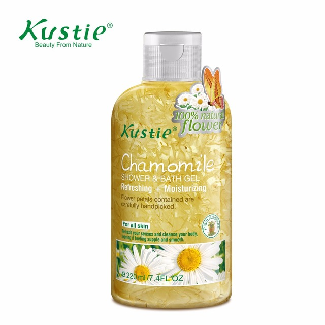 Kustie 220ml Natural and Organic Chamomile Floral Essence Essential Oil Personal Care Cosmetic Shower Gel & Body Wash Bath