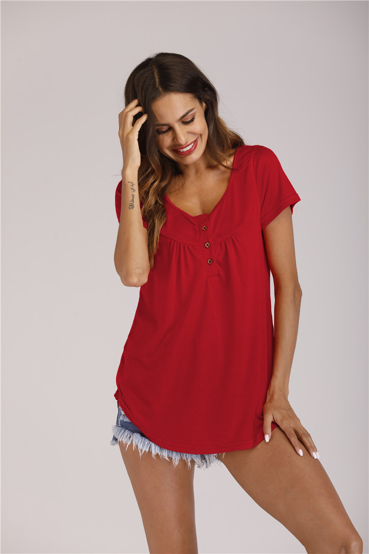 Summer Womens T Shirts harajuku Casual Short Sleeve Loose T Shirts Solid Color Button Pleated Tunic v neck female pullover tops in T Shirts from Women 39 s Clothing