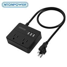 NTON POWER OSP Travel US электрическое штепсельное гнездо мини и портативное 2 розетки переменного тока 3 usb порта для зарядки с 3 футами/1 м шнур питания