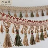 6M Lot Pearl Beads Curtain Lace Accessories Tassel Fringes Trim Ribbon Edge DIY For Sofa Cloth