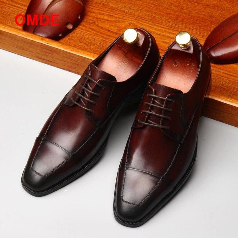 OMDE nueva llegada estilo británico cuadrado del dedo del pie zapatos de cuero de los hombres zapatos de encaje Zapatos de vestir para Hombre Zapatos negocio hecho a mano zapatos formales