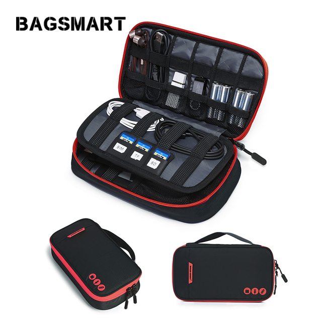 Bagsmart Carry On Travel Digital Accessory Bag Portable Cable Organizer Bag Waterproof Nylon Bag for USB Kindle Battery Cable