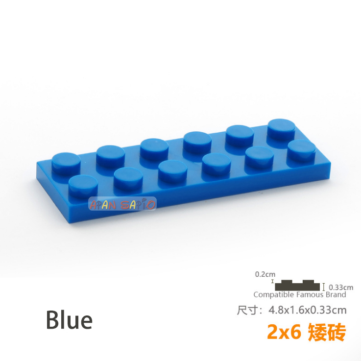 Lego 2x6 Brick Dark Blue Lot of 4 New